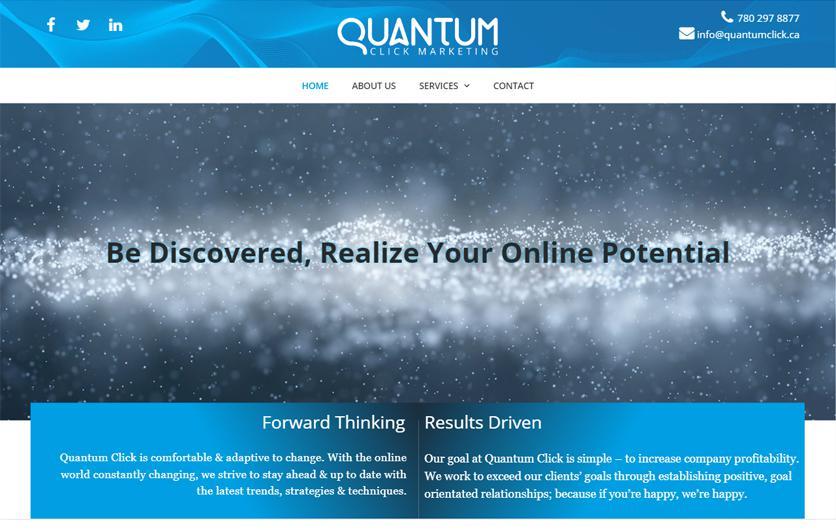 Quantumclick website screenshot by Urban Block Media in Ottawa