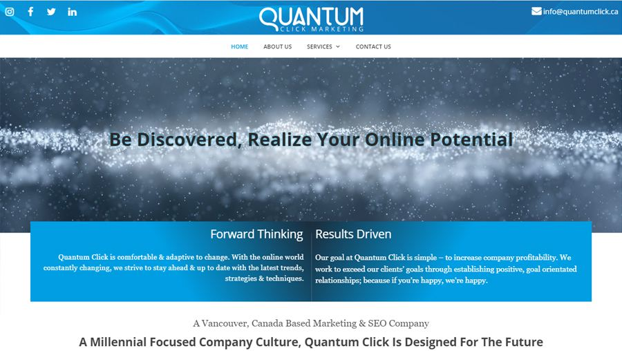 QuantumClick website screenshot by Urban Block Media in Ottawa