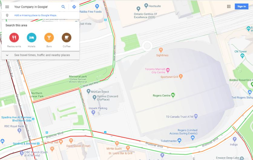 Google Map Screenshot of Toronto Downtown by Urban Block Media in Ottawa